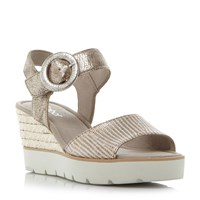 Gabor Obsession Metallic Buckle Wedge Sandals Gold