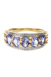Olivia Leone 14K Gold Plated Sterling Silver Tanzanite Ring Metallic