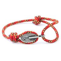 Anchor And Crew London Rope And Silver Bracelet Solid Red