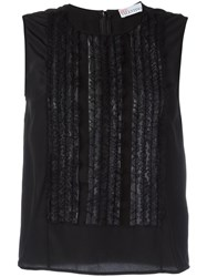 Red Valentino Ruffled Panel Tank Black