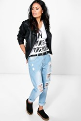 Boohoo Distressed Boyfriend Jeans Blue