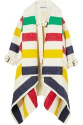 Monse Striped Wool Felt Coat Ivory