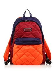 Marc By Marc Jacobs Crosby Quilted Colorblock Nylon Backpack Red Canyon