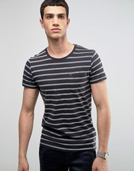 Selected Homme Crew Neck Pocket T Shirt With Stripe Navy