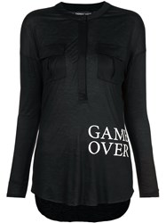 Thomas Wylde Game Over Printed Top Black