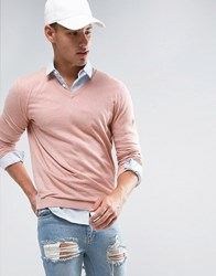 Asos V Neck Cotton Jumper In Dusty Pink Dusty Pink