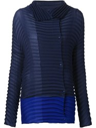 Issey Miyake Pleated Cowl Neck Blouse Blue
