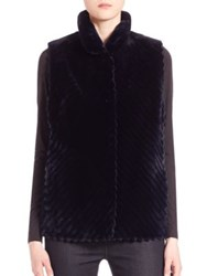 The Fur Salon Reversible Vest Navy