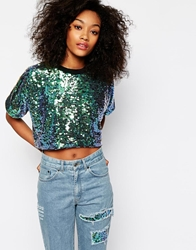 The Ragged Priest All Over Holographic Sequin Cropped T Shirt Co Ord Green