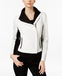 Inc International Concepts Petite Colorblocked Moto Jacket Only At Macy's Bright White