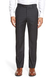 Men's Big And Tall Monte Rosso Flat Front Plaid Wool Trousers Black