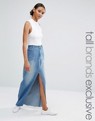 Daisy Street Tall Split Front Denim Maxi Skirt Denim Blue
