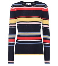 Frame Striped Ribbed Wool Blend Sweater Multicoloured