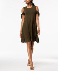 Styleandco. Style Co Cold Shoulder Swing Dress Created For Macy's Evening Olive