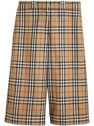 Burberry Vintage Check Wool Tailored Shorts Yellow And Orange
