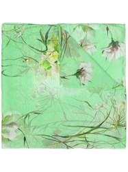 Blumarine Watercolor Scarf Green