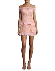 Romeo And Juliet Couture Off The Shoulder Lace Dress Dusty Pink