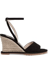 Bottega Veneta Intrecciato Suede Espadrille Wedge Sandals Black