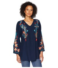 Scully Becca Embroidered Blouse Navy Clothing
