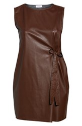 Elvi Plus Size Women's Faux Leather Shift Dress Brown