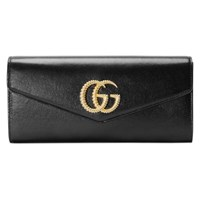 Gucci Broadway Leather Clutch With Double G Black