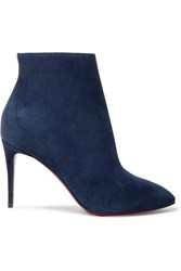 Christian Louboutin Eloise 85 Suede Ankle Boots Navy
