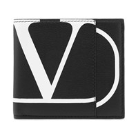 Valentino Go Logo Billfold Leather Wallet Black