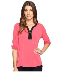 Calvin Klein 3 4 Top With Faux Leather 1 2 Zip Watermelon Women's Clothing Pink