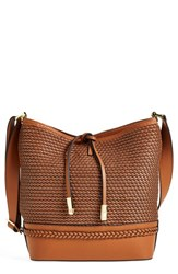 Ivanka Trump 'Briarcliff' Woven Leather Bucket Bag Brown Saddle