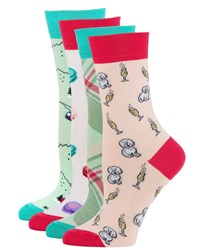 Neiman Marcus 4 Pack Holiday Motif Sock Set Novelty Multi
