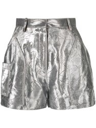 Roberto Cavalli Star Embroidered Shorts Silver