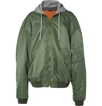 Vetements Ma1 Oversized Shell Hooded Bomber Jacket Army Green