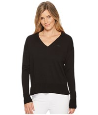 Lacoste Classic Jersey V Neck Sweater Black Women's Sweater