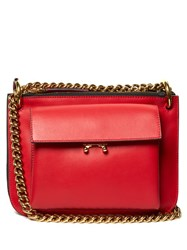 Marni Trunk Bi Colour Leather Cross Body Bag Red