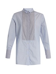 Rachel Comey Griffith Striped Cotton Shirt Blue White