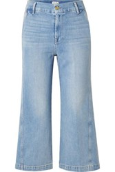 Frame Twisted Cropped High Rise Wide Leg Jeans Light Denim