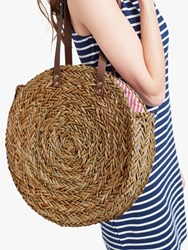 Joules Modena Straw Round Tote Bag Natural