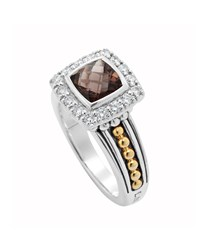 Lagos Two Tone Cushion Cut Quartz And Diamond Ring Women's