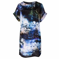 Louise Coleman Shadowlands Silk T Shirt Dress Black Blue Gold