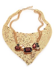 Abs By Allen Schwartz Jewelry Some Like It Hot Faceted Mesh Bib Necklace Gold Red