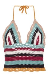 Red Valentino Crochet Knit Halter Top