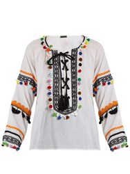 Dodo Bar Or Yehoray Pompom Embellished Top Multi