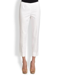Lafayette 148 New York Cropped Bleecker Metropolitan Stretch Pants Khaki White Black Raffia Chai