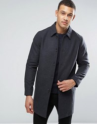 Asos Wool Mix Trench Coat In Charcoal Charcoal Grey