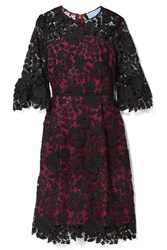 Draper James Rosslyn Lace And Twill Dress Magenta