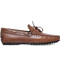 Tod's Tods City Tie Leather Driver Shoes Tan