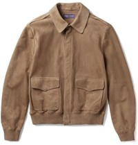 Ralph Lauren Purple Label Henfield Suede Aviator Jacket Brown