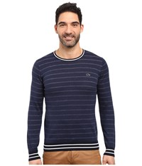 Lacoste Long Sleeve Double Face Chine Stripe Crew Neck Sweater Midnight Blue Chine Navy Blue Flour Men's Sweater