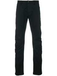 Attachment Gathered Straight Leg Trousers Cotton Polyurethane Black