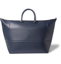 Valextra Pebble Grain Leather Holdall Navy